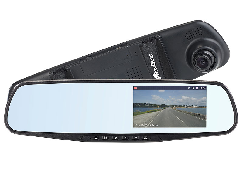 navgear hd r ckspiegel dashcam mit g sensor 10 9 cm. Black Bedroom Furniture Sets. Home Design Ideas