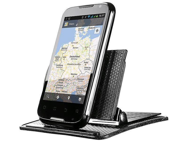 Lescars kfz smartphone halterung für cd laufwerk mit kugelgelenk