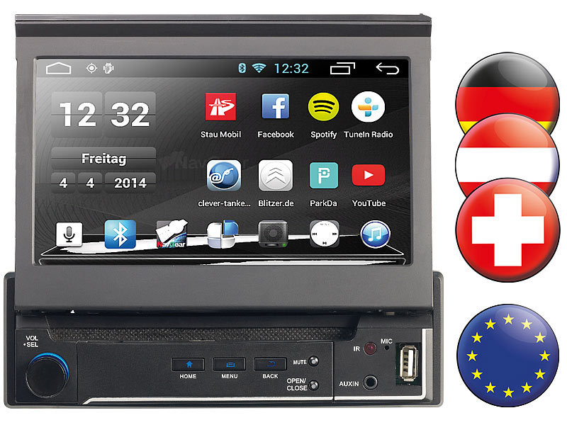 navgear 1 din android autoradio mit 7 navi europa. Black Bedroom Furniture Sets. Home Design Ideas