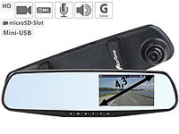 "NavGear HD-Rückspiegel-Dashcam mit G-Sensor & 10,9-cm-Display (4,3""), microSD; Dashcams mit G-Sensor (Full HD) Dashcams mit G-Sensor (Full HD) Dashcams mit G-Sensor (Full HD) Dashcams mit G-Sensor (Full HD)"