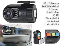 NavGear Mini-HD-Dashcam MDV-1600.av mit G-Sensor, WLAN und Smartphone-App; Dashcams mit G-Sensor (HD) Dashcams mit G-Sensor (HD) Dashcams mit G-Sensor (HD) Dashcams mit G-Sensor (HD)