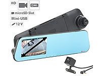 "NavGear HD-Rückspiegel-Dashcam mit Rückfahrkamera und 10,9-cm-Display (4,3""); Dashcams mit G-Sensor (Full HD) Dashcams mit G-Sensor (Full HD) Dashcams mit G-Sensor (Full HD) Dashcams mit G-Sensor (Full HD) Dashcams mit G-Sensor (Full HD)"