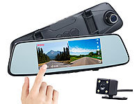 NavGear Full-HD-Rückspiegel-Dashcam, Rückfahrkamera, 17,4-cm-Touch-Display; Dashcams mit G-Sensor (Full HD) Dashcams mit G-Sensor (Full HD) Dashcams mit G-Sensor (Full HD)